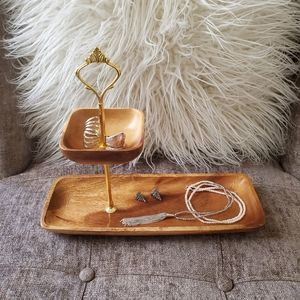 Other - 2 tier wood tray/jewelry keeper